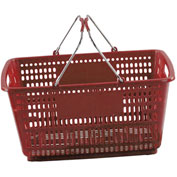 VersaCart ® Red Plastic Shopping Basket 30 Liter With Black Plastic Grips Wire Handle - Pkg Qty 20