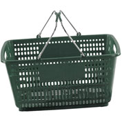 VersaCart ® Green Plastic Shopping Basket 30 Liter With Black Plastic Grips Wire Handle - Pkg Qty 20