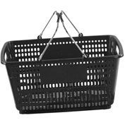 VersaCart ® Black Plastic Shopping Basket 30 Liter With Black Plastic Grips Wire Handle - Pkg Qty 20