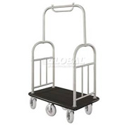 Glaro Ball Top Bellman Cart 48x25 Satin Aluminum Black Carpet, 6 Pneumatic Wheels