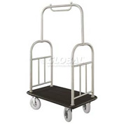Glaro Ball Top Bellman Cart 40x25 Satin Aluminum Black Carpet, 4 Pneumatic Wheels
