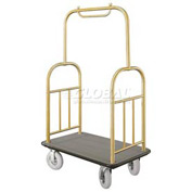 Glaro Ball Top Bellman Cart 40x25 Satin Brass Gray Carpet, 4 Pneumatic Wheels