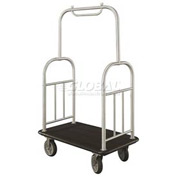 Glaro Ball Top Bellman Cart 48x25 Satin Aluminum Black Carpet, 4 Rubber Wheels