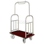 Glaro Ball Top Bellman Cart 48x25 Satin Aluminum Burgundy Carpet, 4 Pneumatic Wheels