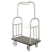 Glaro Ball Top Bellman Cart 48x25 Satin Aluminum Gray Carpet, 4 Pneumatic Wheels