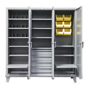 Strong Hold® Triple-Shift Cabinet 66MS-244/3APH/6B/4DB/6SOS - 74x24x78 3 Door Heavy Duty Gray