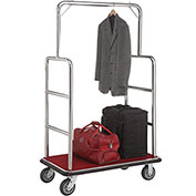 "Silver Stainless Steel Bellman Cart Straight Uprights 6"" Rubber Casters"