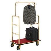 "Best Value Gold Stainless Steel Bellman Cart Straight Uprights 6"" Rubber Casters"