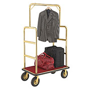 "Gold Stainless Steel Bellman Cart Straight Uprights 8"" Pneumatic Casters"