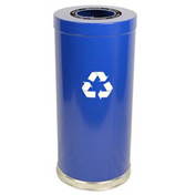 "Steel Recycling Container Blue 15""Dia x 32""H"