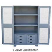 "Global&#8482 Heavy Duty Cabinet HU260 Expanded Metal Door with Drawers, Welded 60""W x 24""D x 78""H"