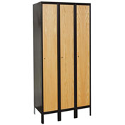 Hallowell UW3588-1MEW Wood/Metal Hybrid Locker Single Tier 15x18x72 3 Door Ready to Assemble