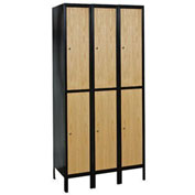 Hallowell UW3288-2MEW Wood/Metal Hybrid Locker Double Tier 12x18x36 6 Door Ready to Assemble