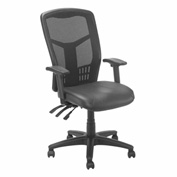 Multifunction Mesh Office Chair with Arms - Leather - Black