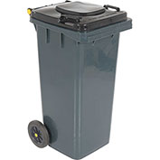 Global™ Mobile Trash Container with Lid - 32 Gallon Gray