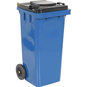 Global™ Mobile Trash Container with Lid - 32 Gallon Blue