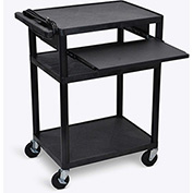 "Luxor Plastic Audio Visual Cart with Pull-Out Laptop Shelf 34""H"