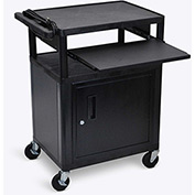 "Luxor Security AV Cart with Pull-Out Laptop Shelf 34""H"
