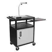 "Luxor Security AV Cart with Pull-Out Side Shelf 34""H"