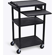 "Luxor Plastic Audio Visual Cart with Pull-Out Laptop Shelf 42""H"