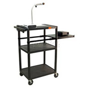 """Luxor Plastic Audio Visual Cart with Pull-Out Side Shelf 42""""H"""