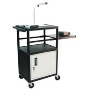 "Luxor Security AV Cart with Pull-Out Side Shelf 42""H"