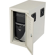 Computer CPU Side Cabinet with Front/Rear Doors and 2 Exhaust Fans - Beige