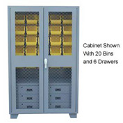 Jamco Bin Cabinet GF248 - 20 Bins 6 Drawers, 14 ga. Welded Expanded Mesh Door 48x24x78, Gray