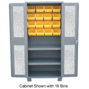 Jamco Bin Cabinet DY248 - 20 Bins 14 ga. Welded Expanded Mesh Door 2 Shelves. 48x24x78, Gray