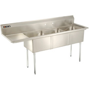 "Stainless Steel Sink - Three Bowl 18 x 18 with 16-1/2"" Left Side Drainboard"
