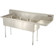 "Aero Three Bowl SS sink 18 x 18 with 16-1/2"" Right Side Drainboard"
