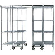 "SPAC TRAC 4 Unit Storage Shelving Chrome 48""W x 24""D x 74""H - 12 ft."