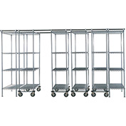 "SPAC TRAC 6 Unit Storage Shelving Poly-Z-Brite 48""W x 18""D x 74""H - 12 ft."