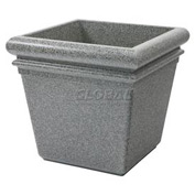 "Concrete Stone Tec Outdoor Planter, 19"" Square Ashtone"