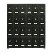"24 Doors Cell Phone Locker 22""W x 16""D x 26""H Black with Combo Locks"