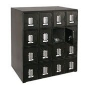 "16 Doors Cell Phone Locker 22""W x 16""D x 26""H Black with Tumbler Combo Locks"