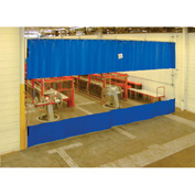 TMI Blue Curtain Wall Partition with Clear Vision Strip 24 x 10 QSCC-288X120
