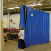 TMI Solid Blue Curtain Wall Partition 6 x 8 QSCS-72X96