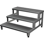 "Vestil ASP-36-3-A Adjustable Height Step Stand, Aluminum 36""W x 36""L"