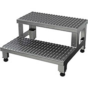 24 W x 24 L 2 Step Adjustable Height Step Stands Aluminum