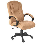 Padded Faux Suede Executive Chair Beige