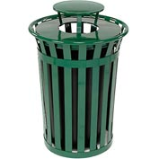 Global Industrial™ Outdoor Metal Slatted Trash Receptacle with Rain Bonnet Lid - 36 Gal Green