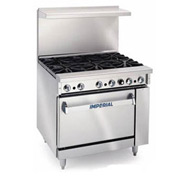 "Imperial Gas Restaurant Range - 36"" 4 Wide Burner"