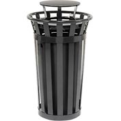 Global™ Outdoor Metal Slatted Trash Receptacle with Rain Bonnet Lid - 24 Gallon Black