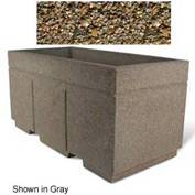 "Concrete Outdoor Planter w/Forklift Knockouts, 72""Lx36""W x 36""H Rectangle Tan River Rock"