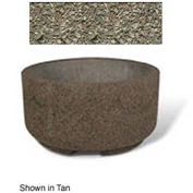 "Concrete Outdoor Planter w/Forklift Knockouts, 48""Dia x24""H Round Gray Limestone"