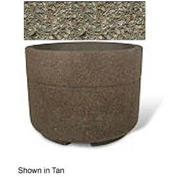 "Concrete Outdoor Planter w/Forklift Knockouts, 48""Dia x36""H Round Gray Limestone"