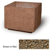 "Concrete Outdoor Planter, 36"" Sq. x 30"" H Square Tan River Rock"