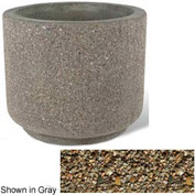 "Concrete Outdoor Planter 36""Dia x 30""H Round Tan River Rock"