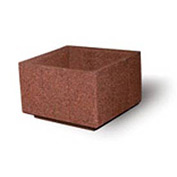 "Concrete Outdoor Planter, 36"" Sq. x 24"" H Square Red Quartzite"
